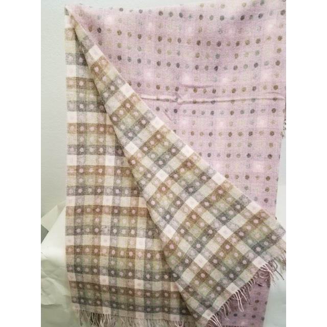 Wool Throw Brown and White Polka Dots on Pink Background - Made in England For Sale In Dallas - Image 6 of 13