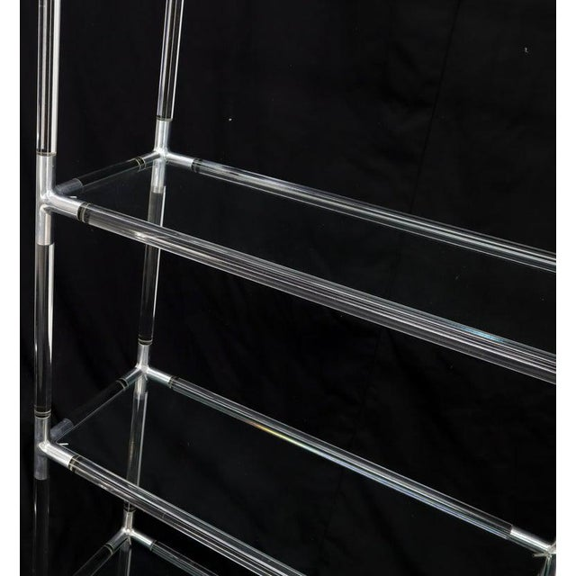 Lucite and Aluminum Mid-Century Modern 5-Tier Etagere Vitrine Shelving Unit For Sale - Image 10 of 13