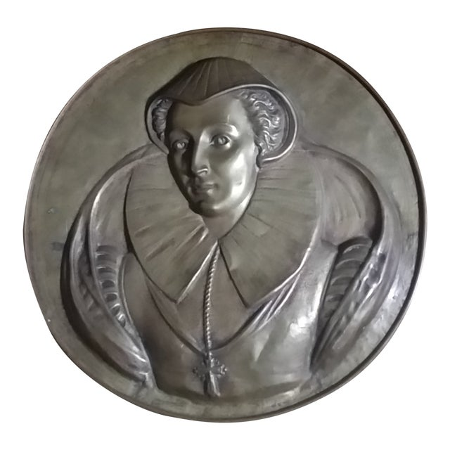 Vintage Mary Queen of Scots Bronze Decorative Hanging Plate For Sale