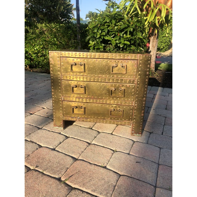 Sarreid Brass Clad Three Drawer Chest of Drawers For Sale - Image 13 of 13