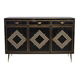 Op Art Murano Black and White Glass Clad Chest of Drawers With Brass Hardware For Sale