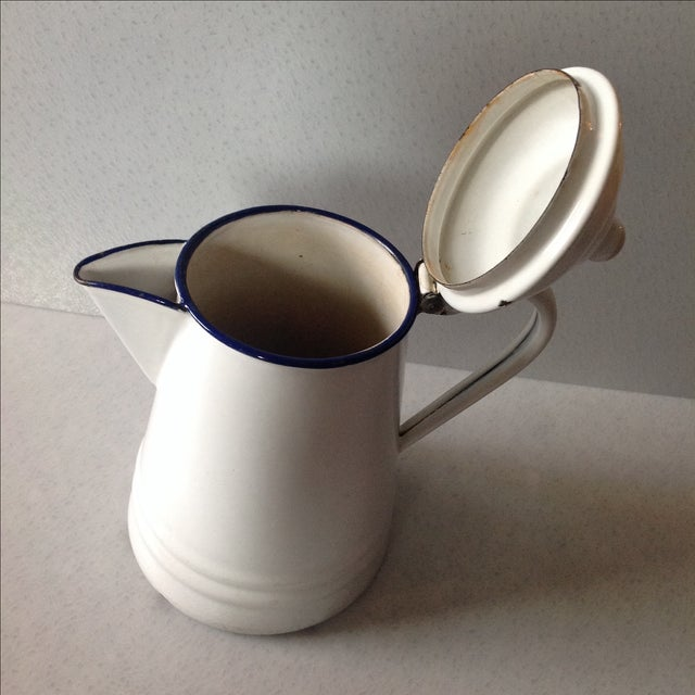 French Country White Enamel Pitcher - Image 6 of 11