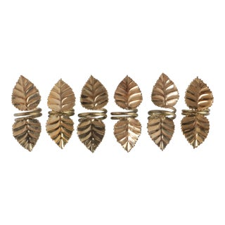 Brass Birch Leaf Napkin Rings - Set of 6 For Sale
