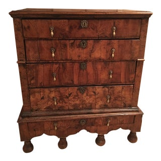 18th Century English William and Mary Burled Walnut Veneer Chest on Stand For Sale