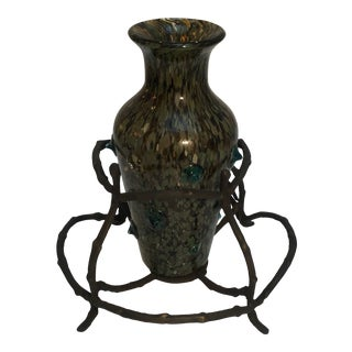 Abstract Art Glass Vase in a Stand For Sale