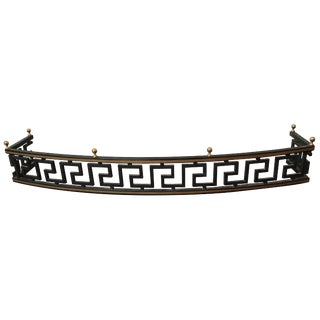 1960s Iron Greek Key Fire Place Fender For Sale