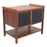 Image of Dillingham Mid Century Walnut Nightstand Record Cabinet Side/End Table For Sale