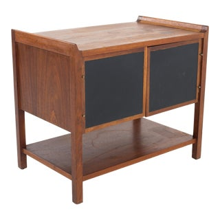 Dillingham Mid Century Walnut Nightstand Record Cabinet Side/End Table For Sale