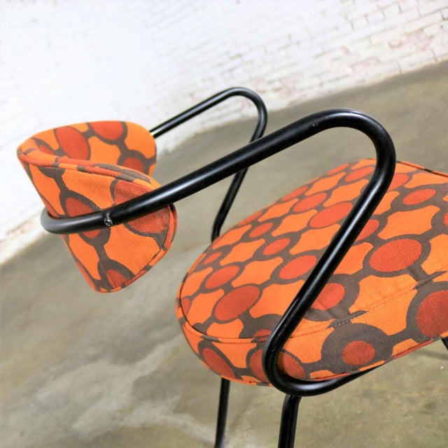 Mid Century Modern Black Bent Steel Tube Armchair With New Orange Upholstery For Sale - Image 9 of 13