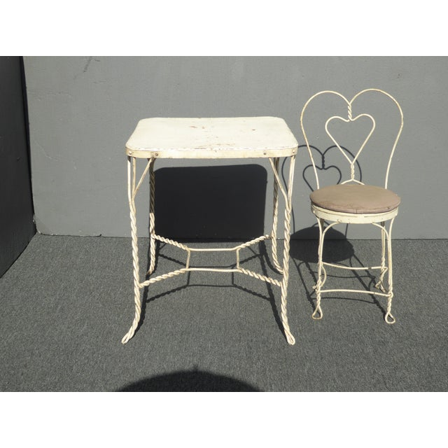 Vintage Farmhouse Industrial White Iron Table & Four Heart Shaped Chairs Set For Sale - Image 11 of 12