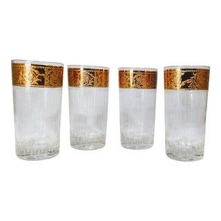 Culver Vintage Gold Rim Crystal Glasses - Set of 4