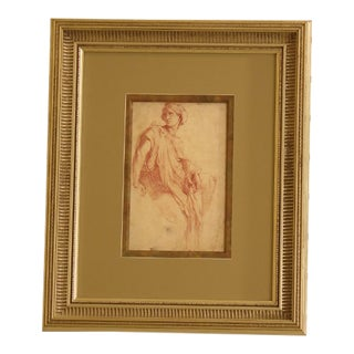 Italian Silver Leaf Framed & Double Matted Wall Art For Sale