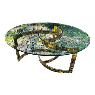 Vintage Glam Brass and Glass Coffee Table For Sale