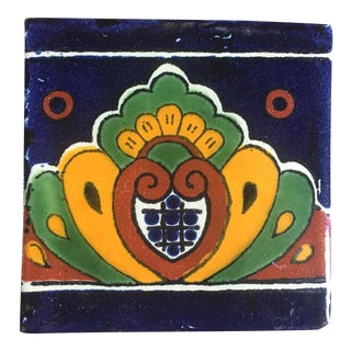 Boho Chic Hand Painted Talavera Terra Cotta Tile For Sale