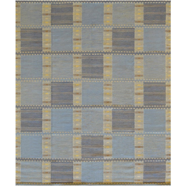 2010s Handwoven Flat-Weave Wool Rug For Sale - Image 5 of 5