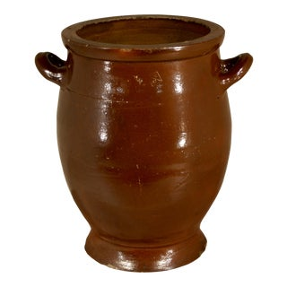 19th-Century Antique French Pottery Crock For Sale