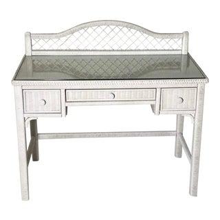 1960s Henry Link White Wicker Vanity Desk For Sale
