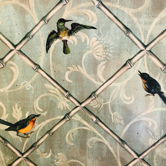 Chinoiserie English Traditional Style Painted Wood Fireplace Screen For Sale - Image 3 of 7