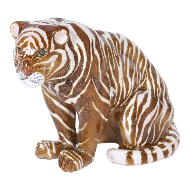 Mid Century Terra Cotta Tiger For Sale