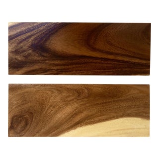 Vintage Rectangular Wood Serving Trays - A Pair For Sale