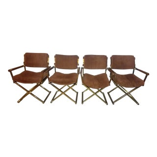 Vintage Mid Century Brass Upholstered Directors Chairs - Set of 4 For Sale