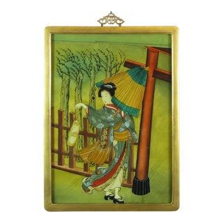 Early 20th C. Japanese Eglomise Geisha Painting on Glass