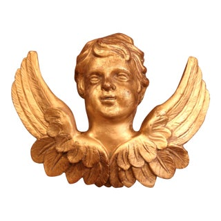 19th Century French Carved Giltwood Cherub With Wings Wall Hanging Sculpture For Sale