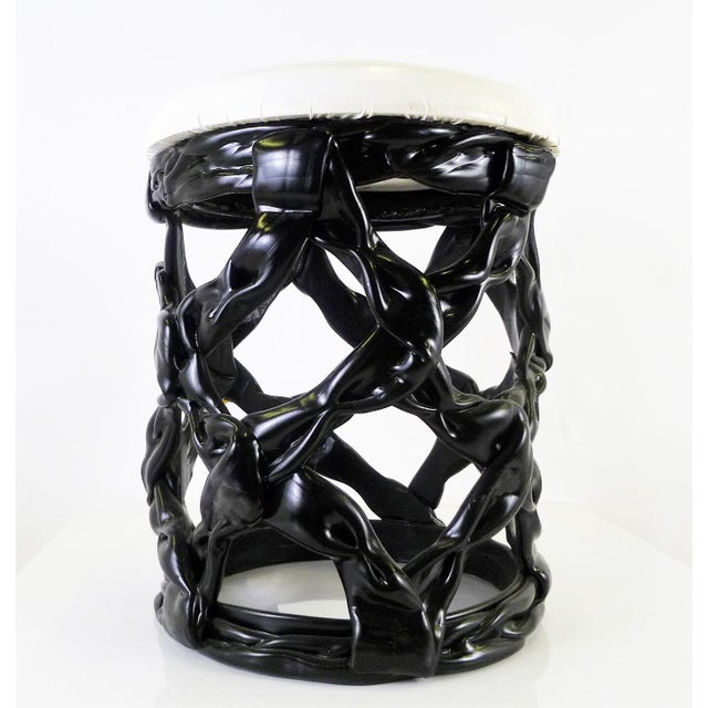 Contemporary 1970s Ribbon Stool Black Resin and White Vynil Seat For Sale - Image 3 of 8
