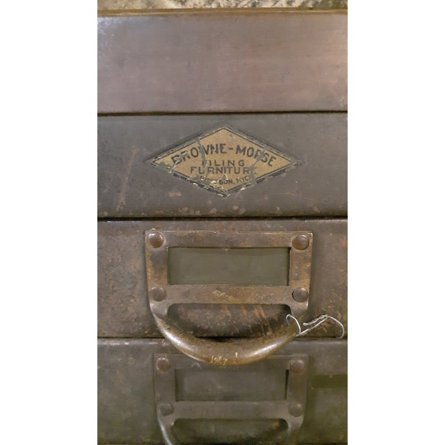 1940s 1940s Industrial Browne-Morse Filing Cabinet For Sale - Image 5 of 10