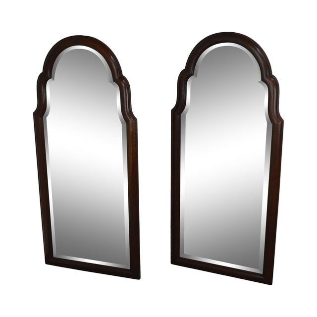 Hickory Chair Co. Pair Solid Mahogany Frame Arch Top Beveled Mirrors For Sale - Image 13 of 13