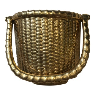 Vintage Brass Basket Door Knocker For Sale