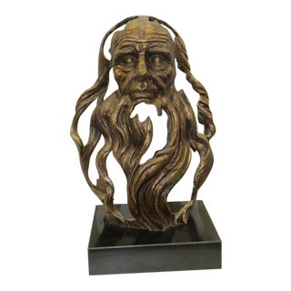 Ancient Head of an Chinese Old Man With Long Beard Bronze Sculpture For Sale