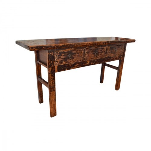 Vintage chinese altar table with three drawers for storage is an excellent buffet or entry piece. Rustic feel, weathered...