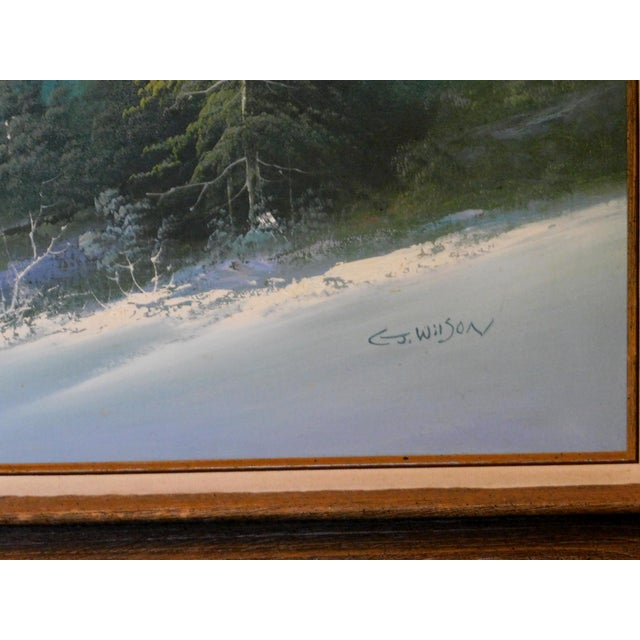 """Canvas Mid 20th Century """"A Winter Landscape"""" Oil Painting, Framed For Sale - Image 7 of 8"""