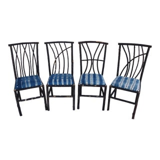 Vintage Bent Wood Willow Chairs W/Blue/White Mali Fabric - Set of 4
