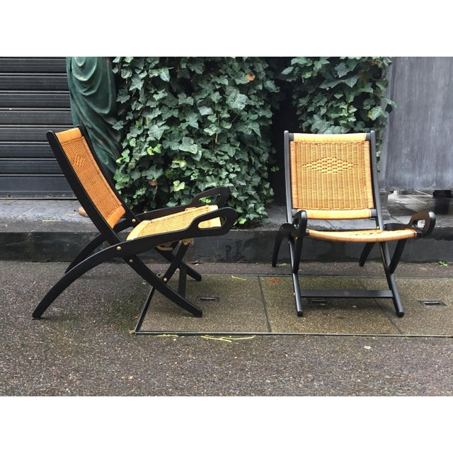 "Wood Gio Ponti (1891-1979), Pair of Folding Fireside Chairs, ""Ninfea"" Model For Sale - Image 7 of 7"