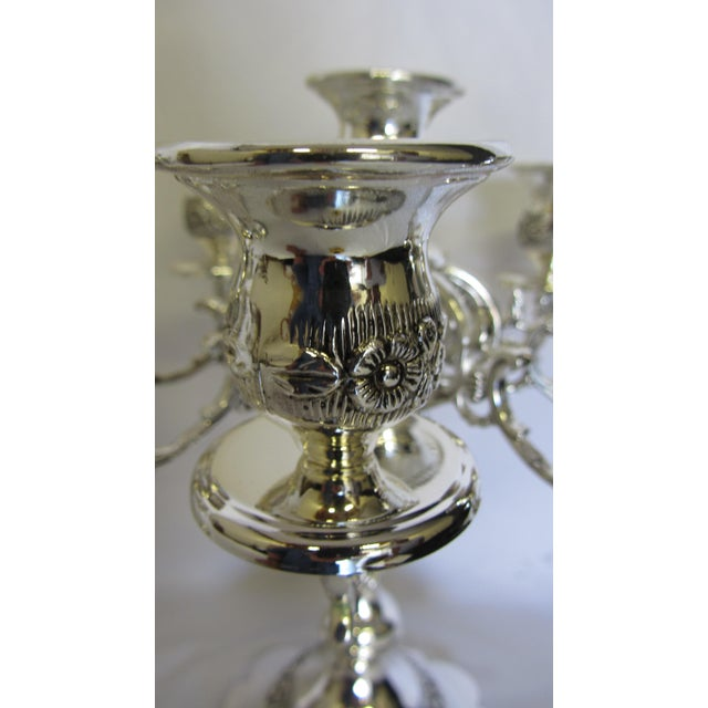 English Traditional Godinger Silver Plate 9 Arm Candelabras - A Pair For Sale - Image 3 of 7