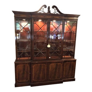 Karges Georgian Style Mahogany & Flame Mahogany Breakfront For Sale