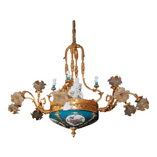 Italian Tiche Doré Bronze Chandelier For Sale