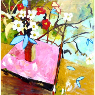 """Contemporary Oil Painting """"Summer Picnic"""" by Camille $3,500 For Sale"""