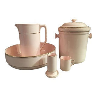 1920s Vintage Waechtersbach Pink Porcelain Wash Set - 6 Pieces For Sale
