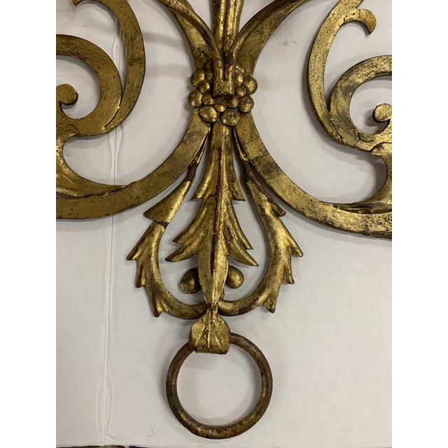 1960s Large Gilt Metal Italian 4 Arm Candle Wall Sconce For Sale In Chicago - Image 6 of 8