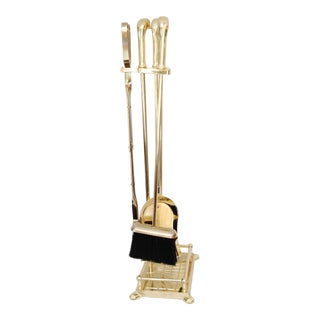 Vintage Five-Piece Brass Duck Head Fireplace Tools - Set of 4