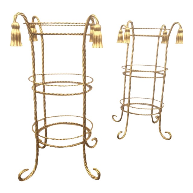 Hollywood Regency Style Gilt Metal Stands - A Pair For Sale