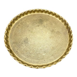Vintage Mid-Century Moroccan Solid Brass Hand Etched Designs Tray For Sale