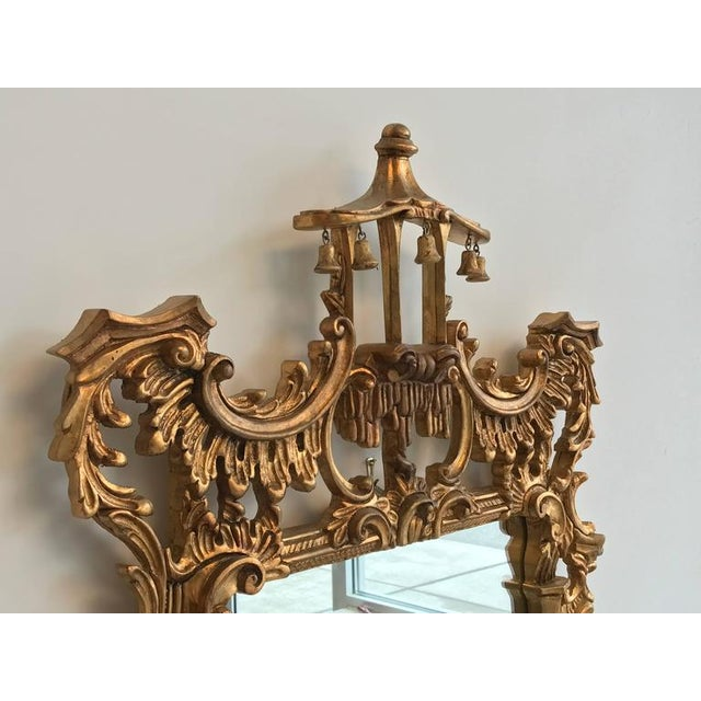 Chinoiserie Temple Bells Carved Wood Mirror - Image 4 of 9