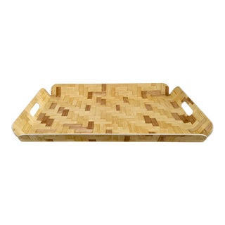 Woven Laminated Rattan Serving Tray For Sale