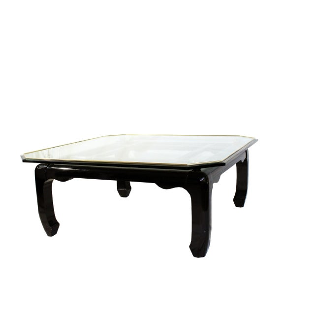 1970s Vintage Ming-Style Chinoiserie Black Lacquered & Gold Brass Coffee Table With Glass Top For Sale - Image 5 of 13