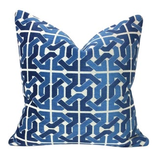Lee Jofa Groundworks Cliffoney Blue & White Pillow Cover For Sale