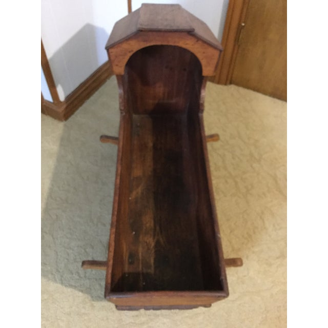 Wood Early 1800's Handmade Primitive Rocking Cradle For Sale - Image 7 of 7